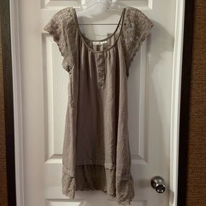 Blue Bird Brown Lace Trip Scoop Neck Dress Small